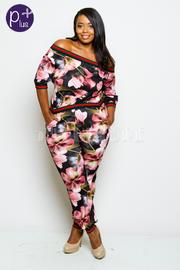 Plus Size Off Shoulder Pretty Floral Sporty Jumpsuit