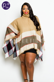 Plus Size High Neck Fringed Winter Loose Poncho