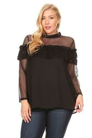 Plus Size Laced Flounce Long Sleeved Casual Blouse