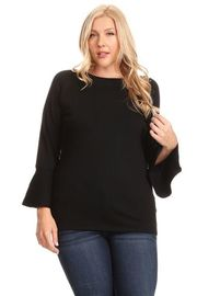 Plus Size 3/4 Sleeved Flounced Solid Top