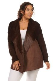 Plus Size Keeping Cozy In Winter Knitted Brushed Collar Jacket