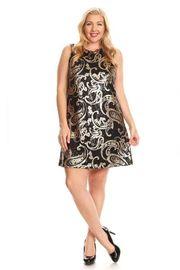 Plus Size Paisley Sequin Party Mini Tunic Dress