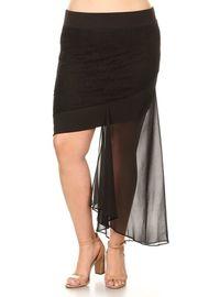 Plus Size Asymmetrical Sheer Midi Flounced Skirt