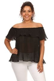 Plus Size Off Shoulder Pleated Sheer Flounced Top
