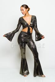 Tie Up Cropped Flared Metallic Pants Set
