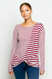 Striped & Solid Knot Long Sleeved Top