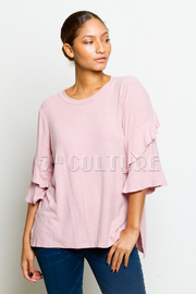 Ruffled Layer 3/4 Sleeved Top