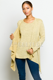 Marled Long Sleeved Cardigan Combo Top