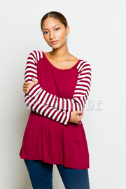 Striped Long Sleeved Solid Top