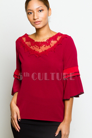 Bell 3/4 Sleeved Crochet Trim Blouse