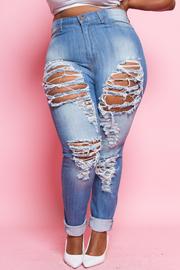 Plus Size Distressed Skinny Denim Jeans