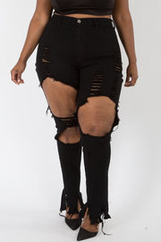 Plus Size Ripped Hole Skinny Jeans