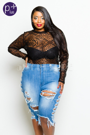 Plus Size Sliced Ripped Capri Jeans