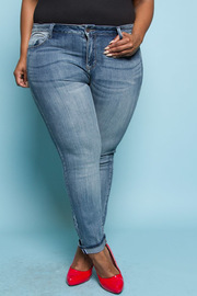 Plus Size Distressed Skinny Denim Jeans