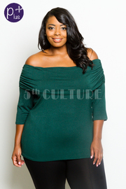 Plus Size 3/4 Sleeved Flounced Off Shoulder Top