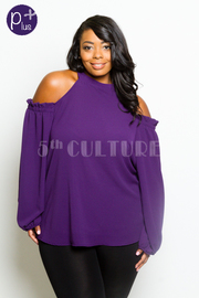 Plus Size Cold Shoulder Solid Ruffled Blouse