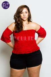 Plus Size Smocked Off Shoulder Velvet Top