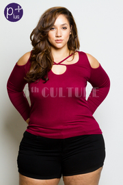 Plus Size Trendy Cross Straps Cold Shoulder Top