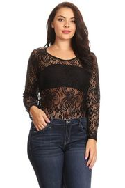 Plus Size Lacey Gothic Long Sleeved Sexy Bodysuit