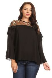 Plus Size Embroidery Floral Trim Flounced Solid Blouse