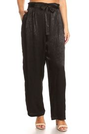 Plus Size Silky Tie Up Casual Pants