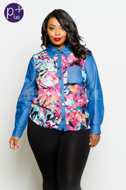 Plus Size Colorful Printed Denim Button Down Shirt