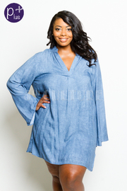 Plus Size V-neck Solid Tunic Chambray Dress