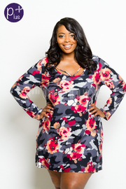 Plus Size Sweet Floral Long Sleeved Dress