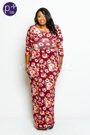 Plus Size Pretty in Floral 3/4 Sleeves Maxi Dress
