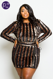 Plus Size Sequin & Velvet Striped Mini Tie Up Sexy Glam Dress