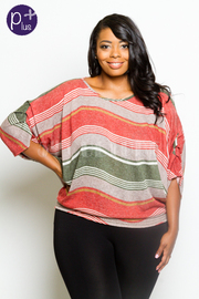 Plus Size Colorful Pattern Striped Top