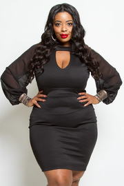 Plus Size Keyhole Sheer Bubble Sleeved Bodycon Dress