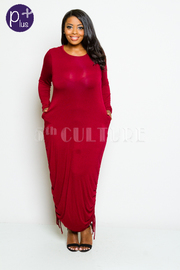 Plus Size Basic Long Sleeved Maxi Harem Dress
