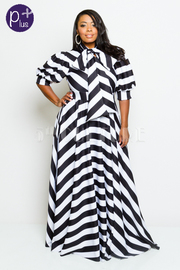 Plus Size Short Sleeved Puffed Self-Tie Maxi Striped Flowy Dress