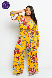 Plus Size Roses In Printed Palazzo Surplice Tie Waist Jumpsuit
