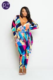 Plus Size Surplice Self-Tie Colorblock Trendy Jumpsuit
