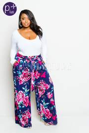 Plus Size Roses In Bloom Palazzo Self-Tie Pants