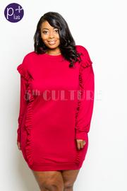 Plus Size Ruffled Trim Long Sleeved Midi Dress