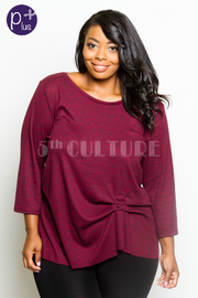 Plus Size 3/4 Sleeved Solid Marled Top