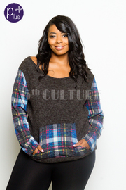 Plus Size Plaid Pocket Casual Top