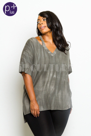 Plus Size V-neck Marled Top