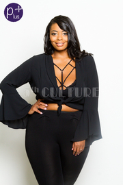 Plus Size Bell Sleeved Cross Straps Top