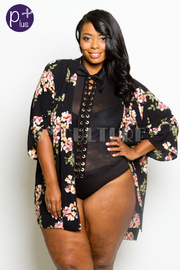 Plus Size Sweet Floral Sheer Cardigan