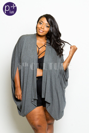 Plus Size Open Loose Jersey Cardigan