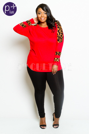 Plus Size Leopard Trim Jersey Top