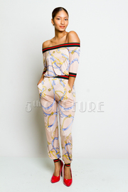 Chain Printed Sporty Off Shoulder Jumpsuit