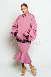 Pretty In Scuba Loose Hooded Sweater Midi Mermaid Skirt Set