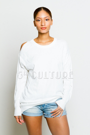 Cut Shoulder Acrylic Fall Sweater