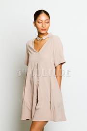 Short Sleeved Keyhole Tunic Dress