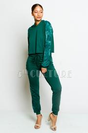 Velvet Exposed Hooded Sweater Jogger Pants Set